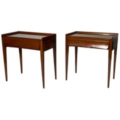 Midcentury Italian Pair of Nightstand or Side Table with Drawer