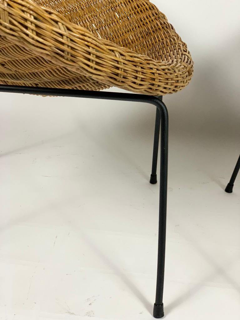 Midcentury Italian Pair of Rattan Bamboo Armchairs Black Metal Legs For Sale 8