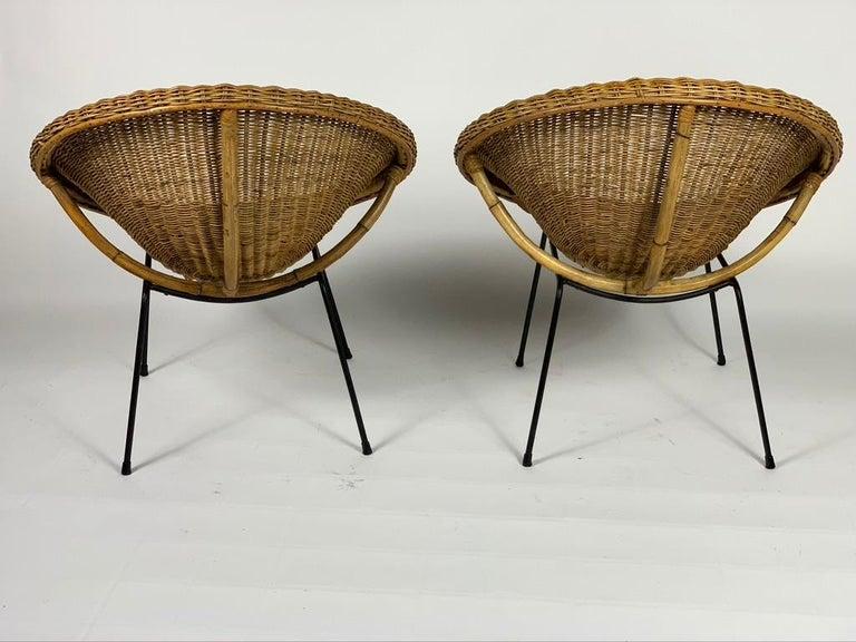 Mid-20th Century Midcentury Italian Pair of Rattan Bamboo Armchairs Black Metal Legs For Sale