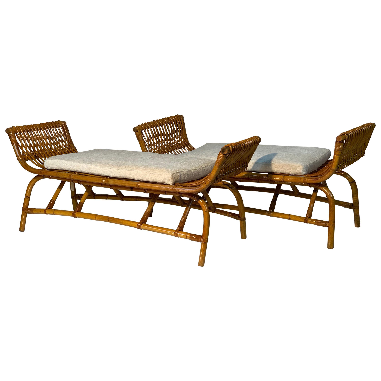 Midcentury Italian Pair of Rattan Bamboo Benches