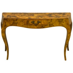 Midcentury Italian Patchwork Burl Serpentine Console Table