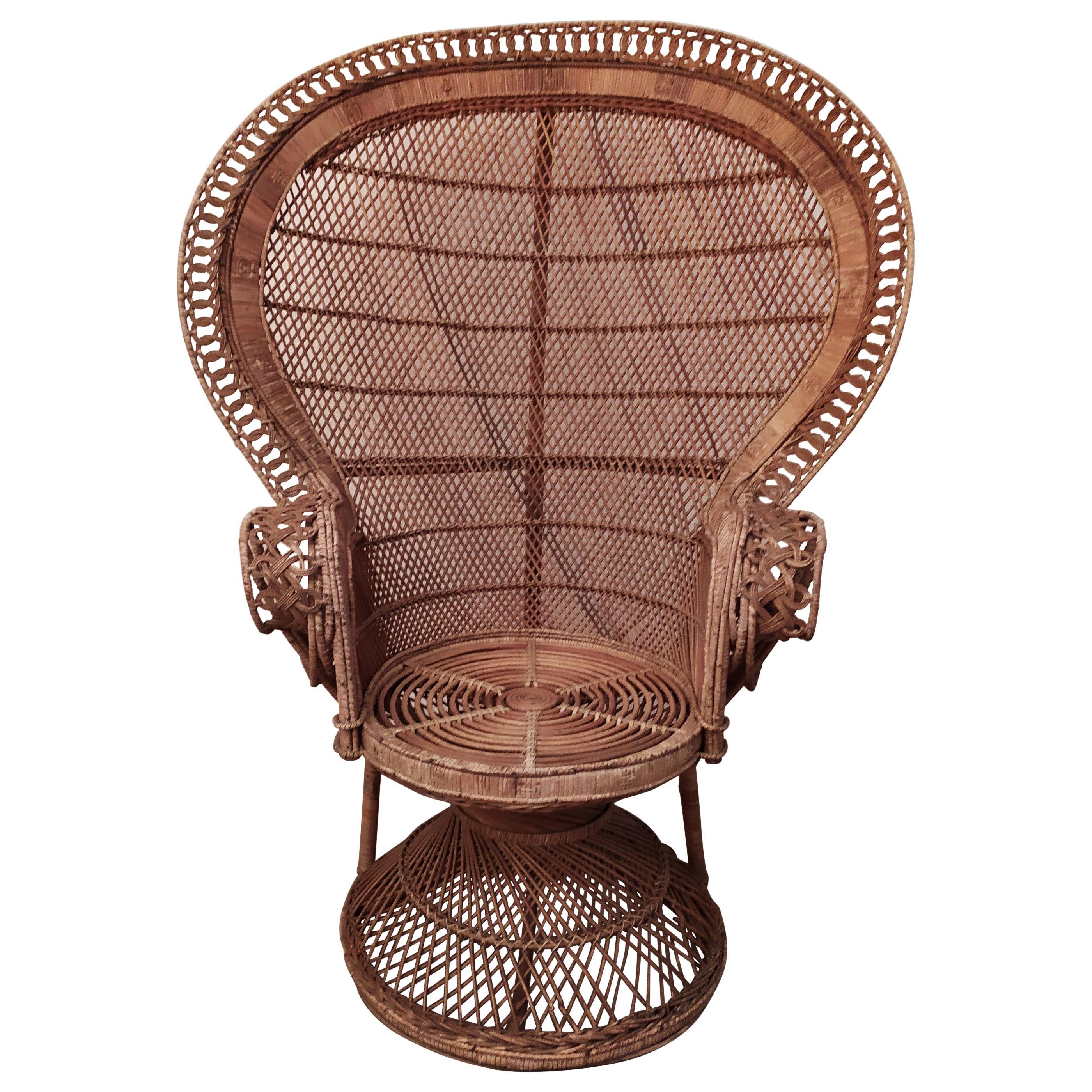 Mid Century Italian Peacock Armchair in Wicker