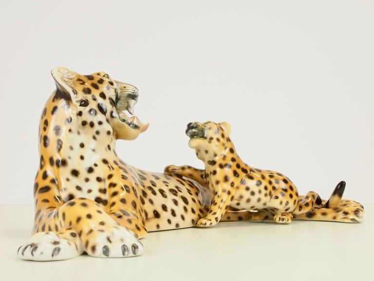 Midcentury Italian Porcelain Leopard Statuette Favaro Cecchetto Attributed 4