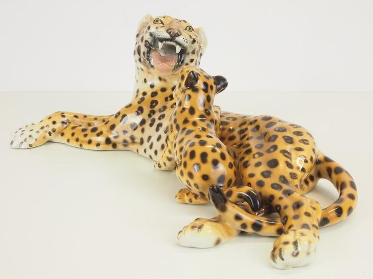 Midcentury Italian Porcelain Leopard Statuette Favaro Cecchetto Attributed 5