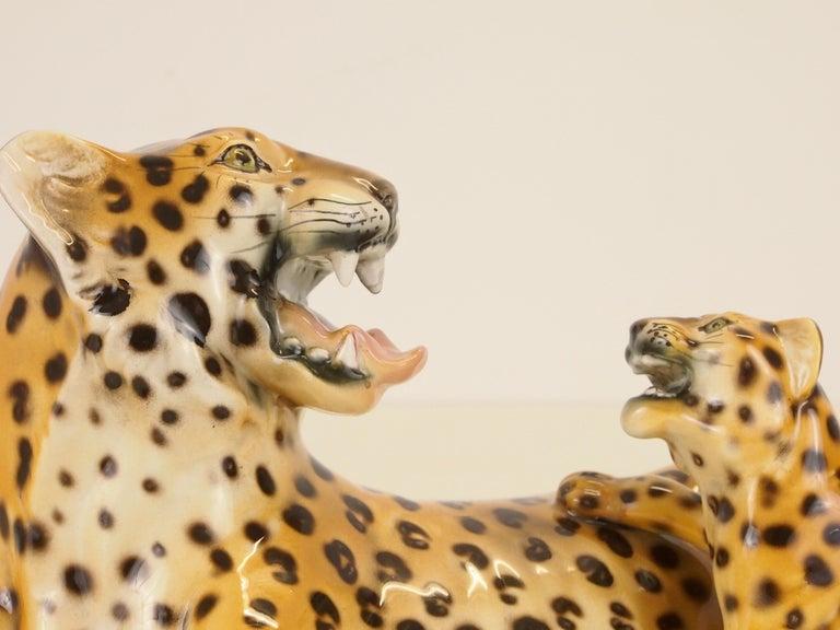 Midcentury Italian Porcelain Leopard Statuette Favaro Cecchetto Attributed 8