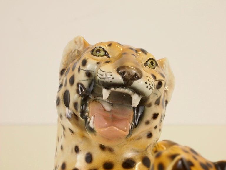 Midcentury Italian Porcelain Leopard Statuette Favaro Cecchetto Attributed 9