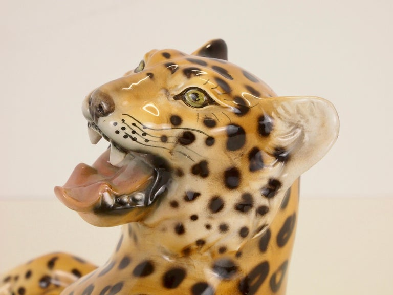 Midcentury Italian Porcelain Leopard Statuette Favaro Cecchetto Attributed 12