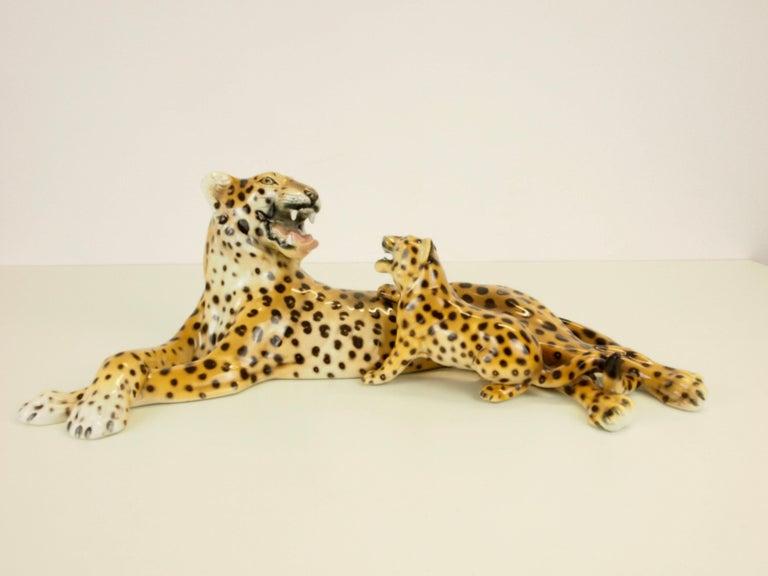 Art Deco Midcentury Italian Porcelain Leopard Statuette Favaro Cecchetto Attributed
