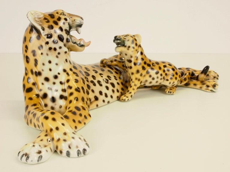 Hand-Painted Midcentury Italian Porcelain Leopard Statuette Favaro Cecchetto Attributed