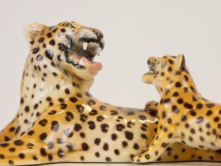 20th Century Midcentury Italian Porcelain Leopard Statuette Favaro Cecchetto Attributed