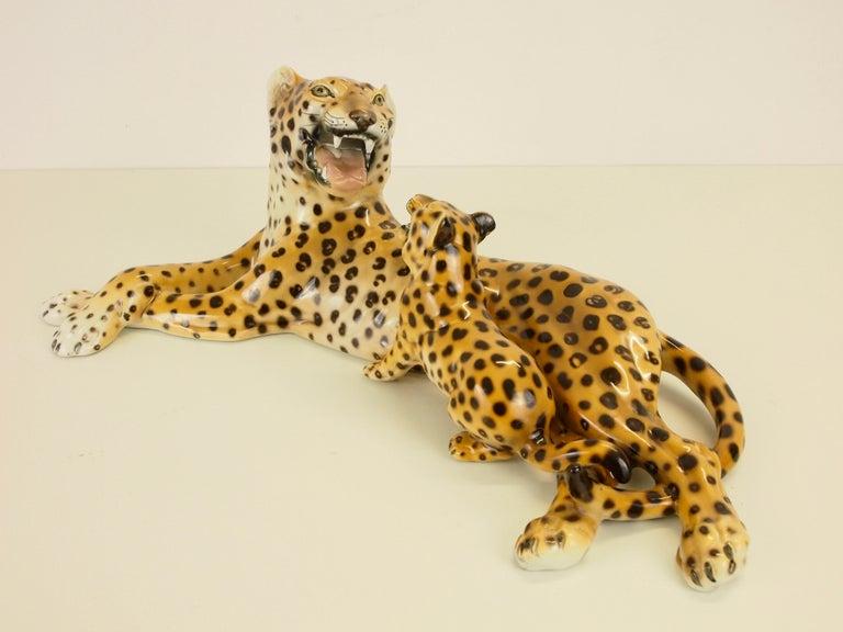 Midcentury Italian Porcelain Leopard Statuette Favaro Cecchetto Attributed 1