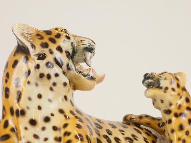 Midcentury Italian Porcelain Leopard Statuette Favaro Cecchetto Attributed 2