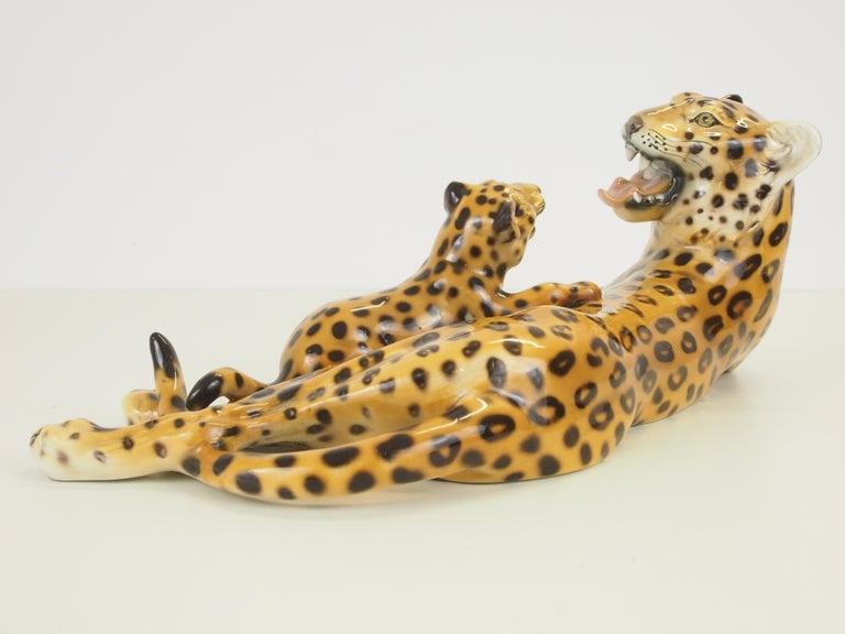 Midcentury Italian Porcelain Leopard Statuette Favaro Cecchetto Attributed 3