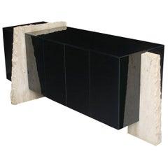 Mid Century Italian Post Modern Black Lacquer & Travertine Cabinet or Credenza