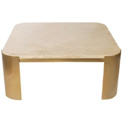Midcentury Italian Postmodern Brass and Marble Square Cocktail Table