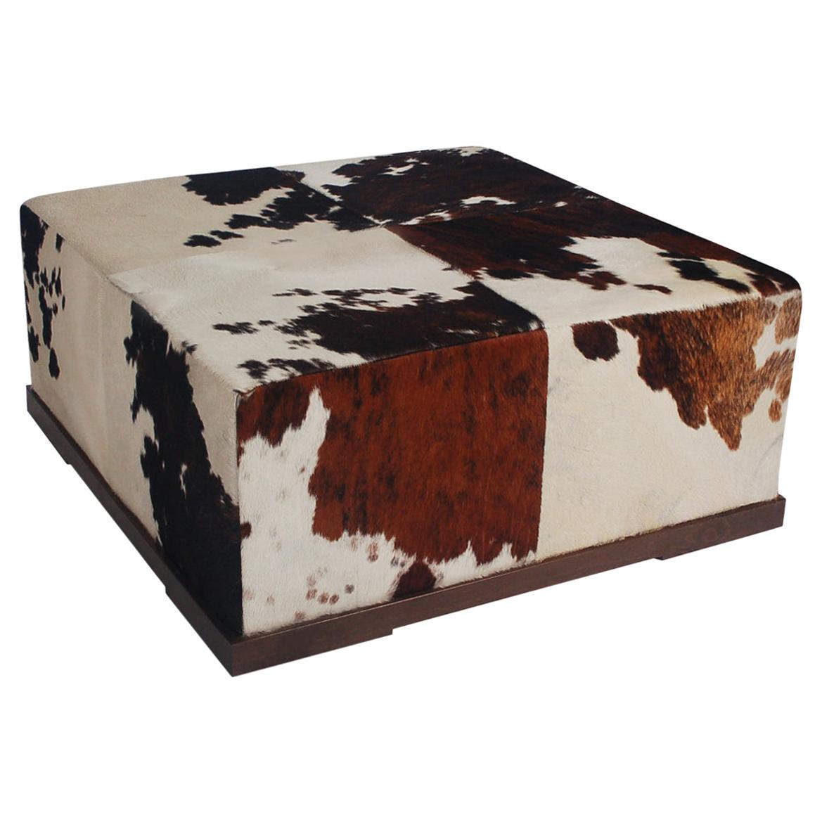 Mid Century Italian Post Modern Cowhide Oversized Ottoman or Cocktail Table
