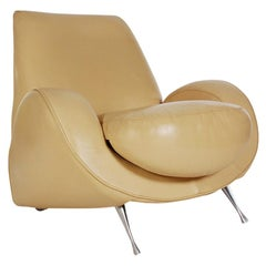 Midcentury Italian Postmodern Funky Lounge Chair in Cream Colored Leather