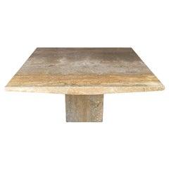 Mid Century Italian Post Modern Large Square Organic Marble Dining Table