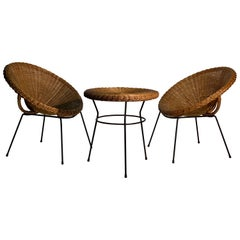 Midcentury Italian Rattan and Bamboo Pair of Armchairs and Table, 1950s