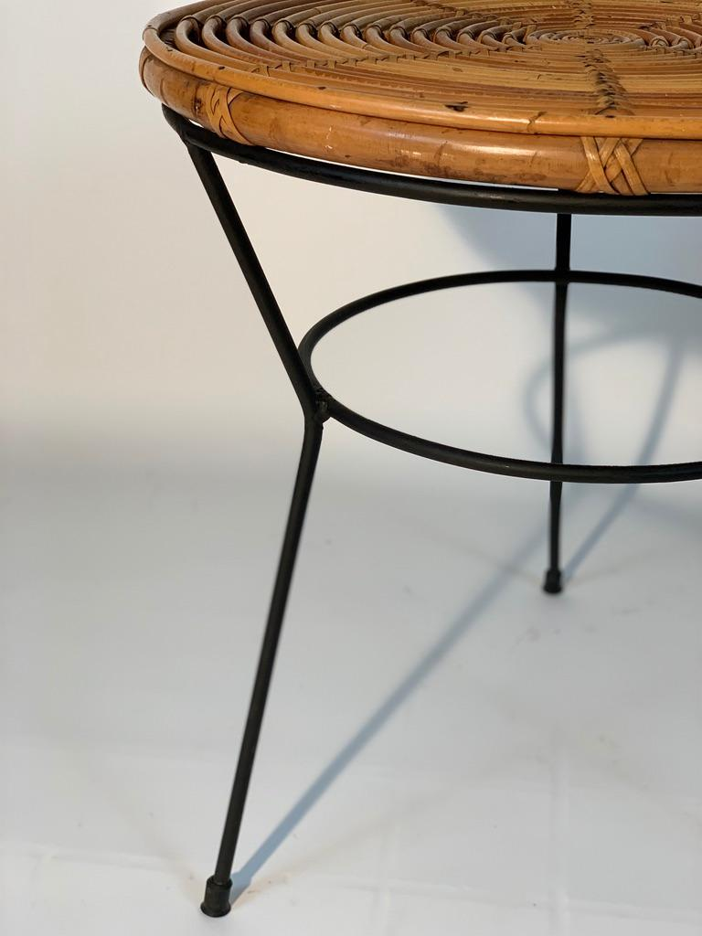 Midcentury Italian Rattan Bamboo 2 Armchairs and Side Table Black Metal Leggs For Sale 13