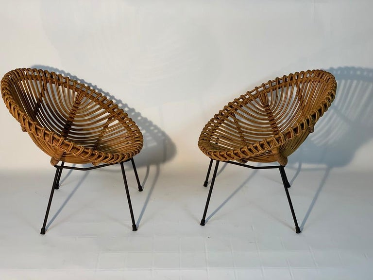 Mid-20th Century Midcentury Italian Rattan Bamboo 2 Armchairs and Side Table Black Metal Leggs For Sale