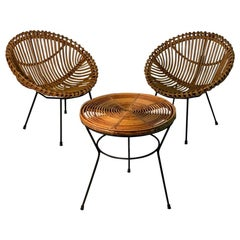 Midcentury Italian Rattan Bamboo 2 Armchairs and Side Table Black Metal Leggs