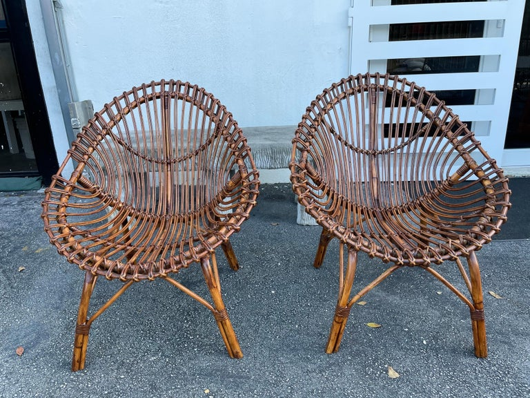 Midcentury Italian Rattan and Bamboo Scoop Design Chairs For Sale 5