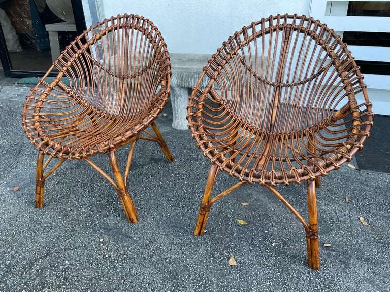 Midcentury Italian Rattan and Bamboo Scoop Design Chairs For Sale 6