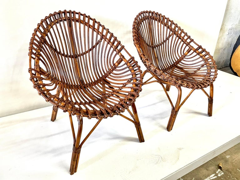 Midcentury Italian Rattan and Bamboo Scoop Design Chairs For Sale 7