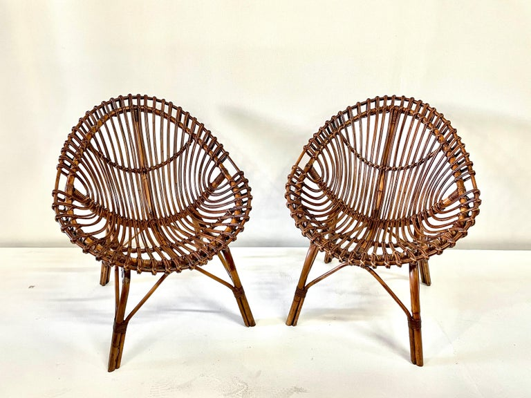 Midcentury Italian Rattan and Bamboo Scoop Design Chairs For Sale 8