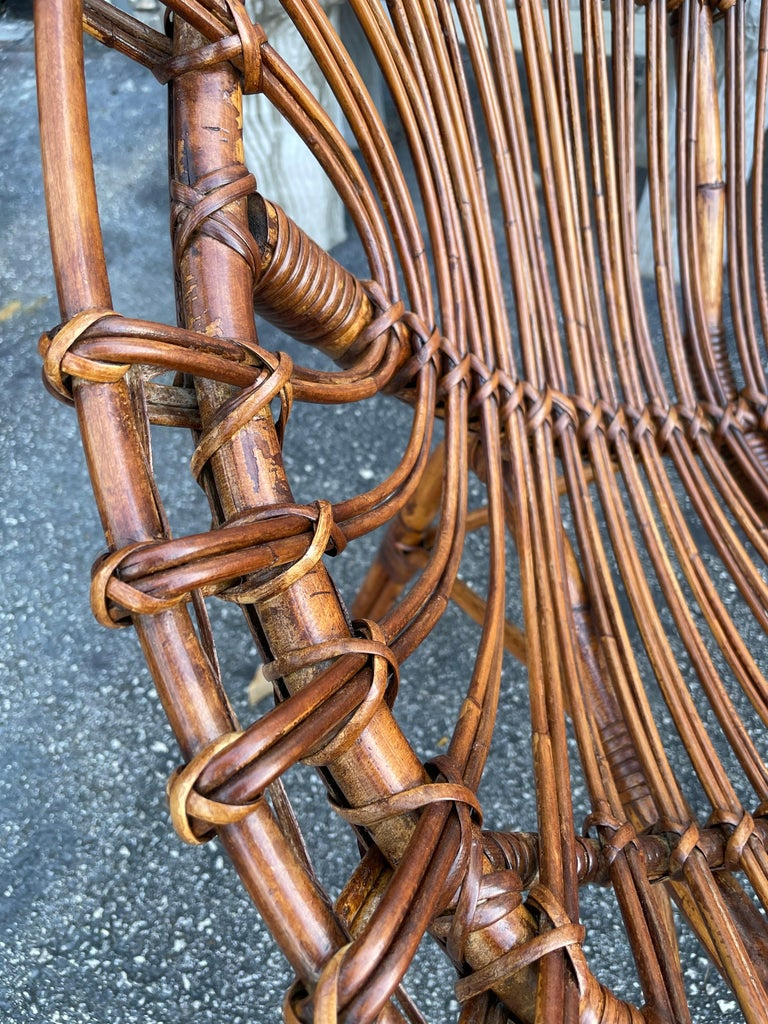 Midcentury Italian Rattan and Bamboo Scoop Design Chairs For Sale 9