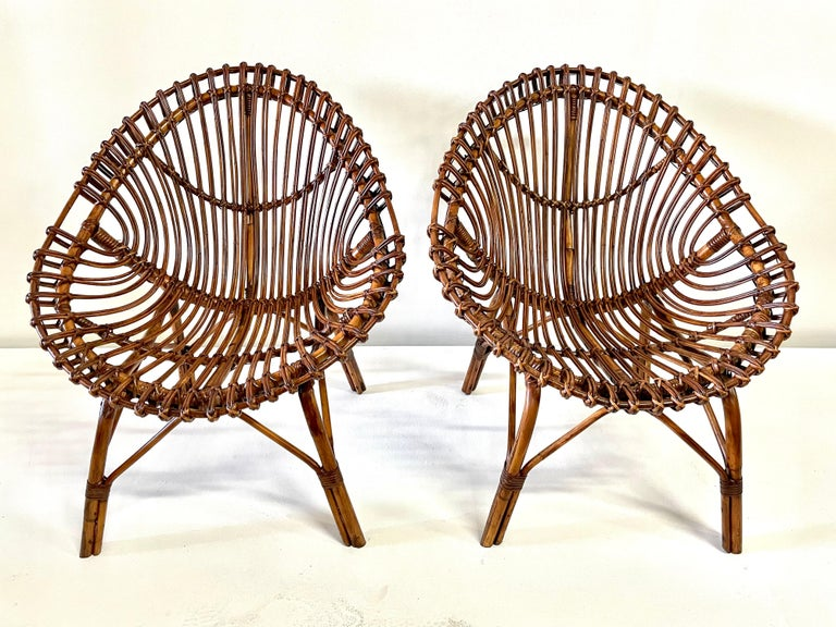 Midcentury Italian Rattan and Bamboo Scoop Design Chairs For Sale 10