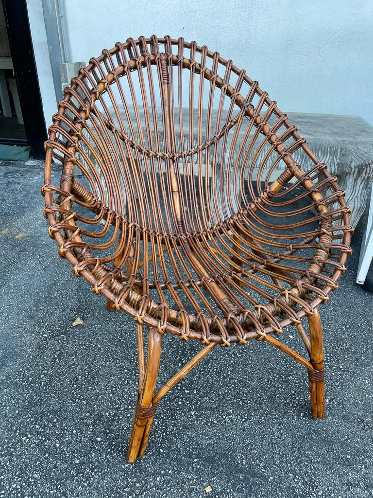 Midcentury Italian Rattan and Bamboo Scoop Design Chairs For Sale 11