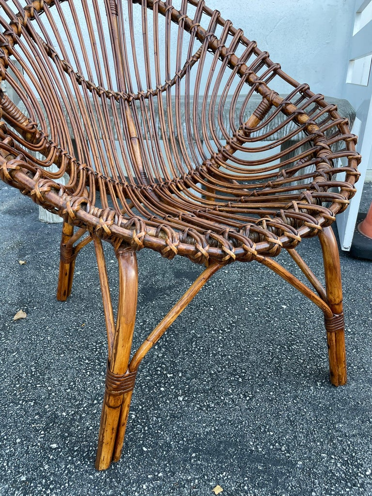 Midcentury Italian Rattan and Bamboo Scoop Design Chairs For Sale 12