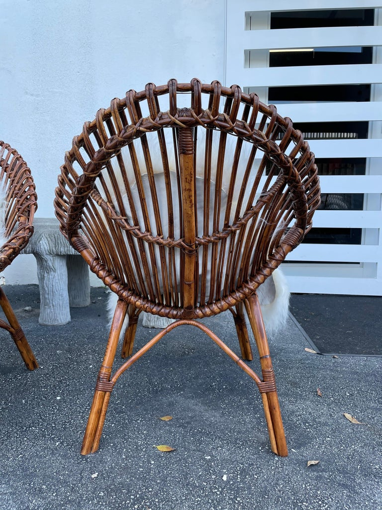 Mid-20th Century Midcentury Italian Rattan and Bamboo Scoop Design Chairs For Sale