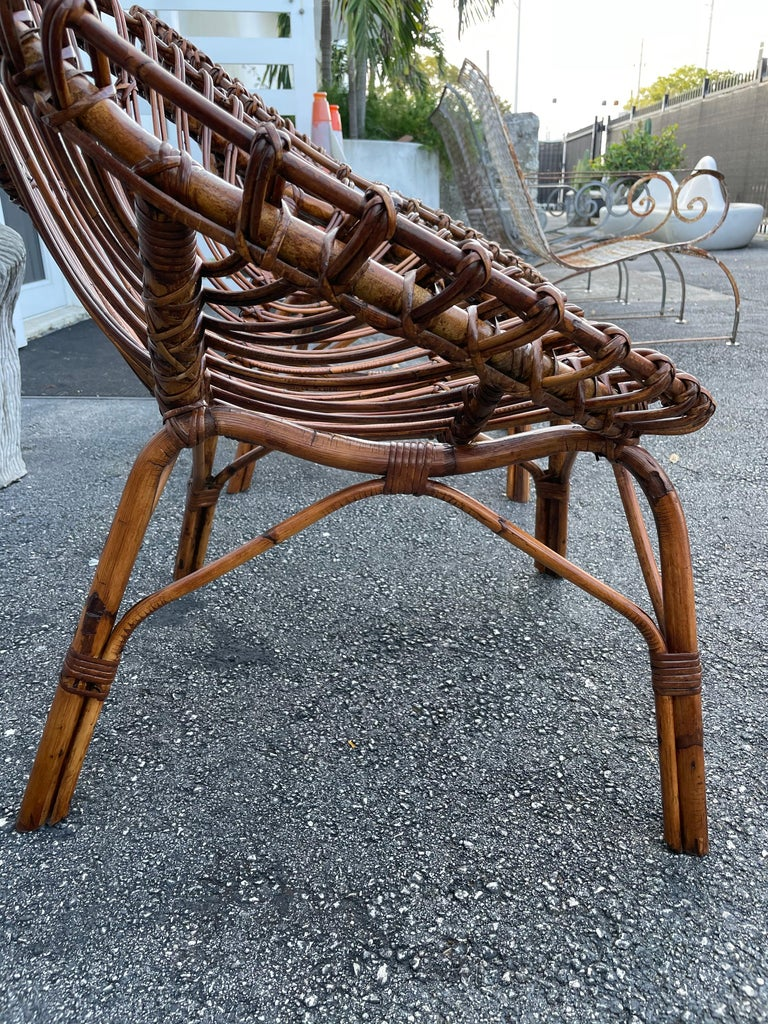 Midcentury Italian Rattan and Bamboo Scoop Design Chairs For Sale 4