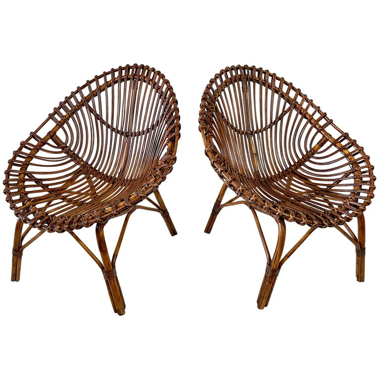 Midcentury Italian Rattan and Bamboo Scoop Design Chairs For Sale