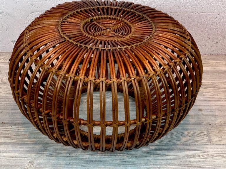 20th Century Midcentury Italian Rattan Ottoman Designed by Franco Albini For Sale