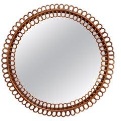 Midcentury Italian Rattan Round Wall Mirror, circa 1960s
