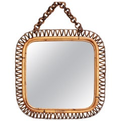 Midcentury Italian Rattan Square Mirror, circa 1960s
