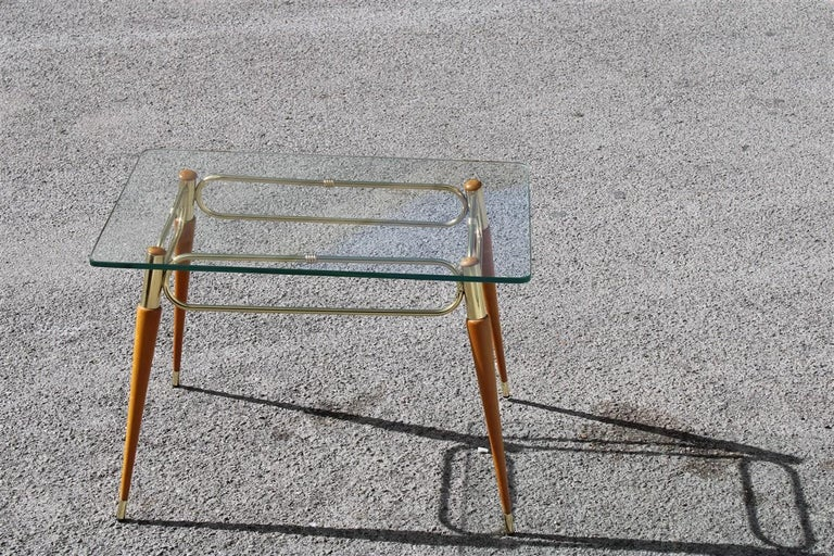 Mid-Century Modern Midcentury Italian Rectangular Coffee Table in Brass and Maple with Glass Top For Sale