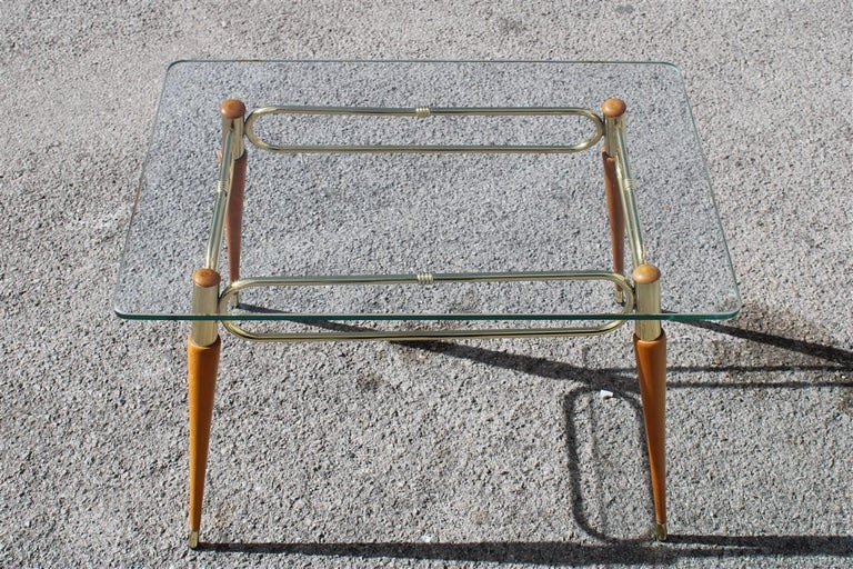 European Midcentury Italian Rectangular Coffee Table in Brass and Maple with Glass Top For Sale