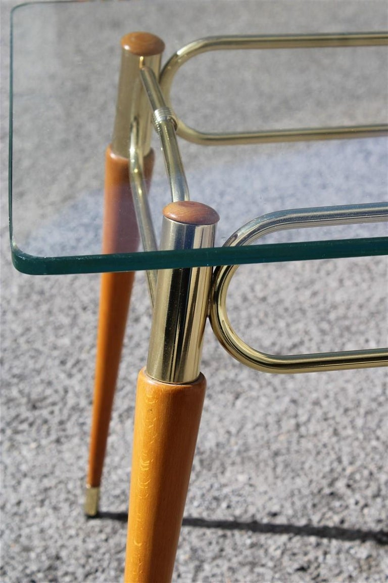 Mid-20th Century Midcentury Italian Rectangular Coffee Table in Brass and Maple with Glass Top For Sale