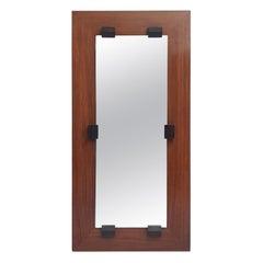 Midcentury Italian Rectangular Mahogany Mirror