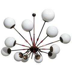 Midcentury Italian Red and Opaline Glass Sputnik Chandelier by Stilnovo, 1950s