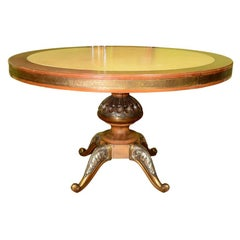Mid Century Italian Round Center Table with Inset Marble Top