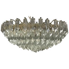 Midcentury Italian Round Glass Flush Mount Chandelier