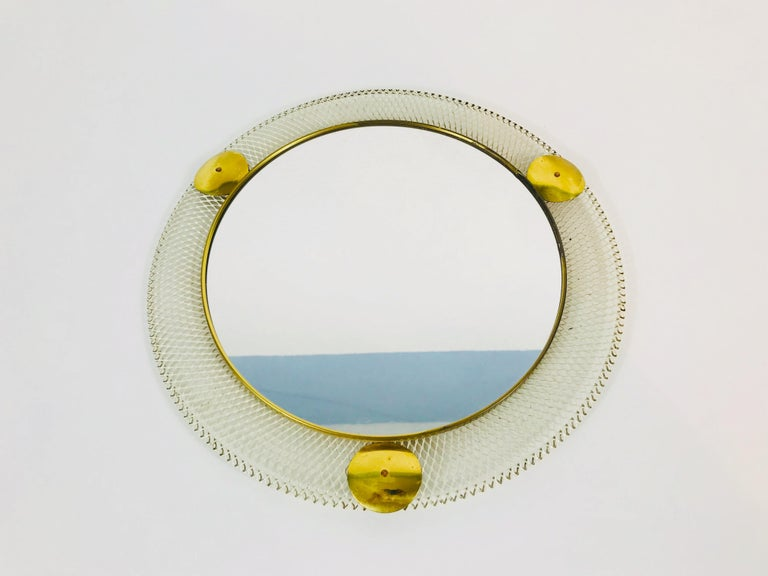 Mid-Century Modern Midcentury Italian Round Metal and Brass Mirror, Italy, 1960s For Sale