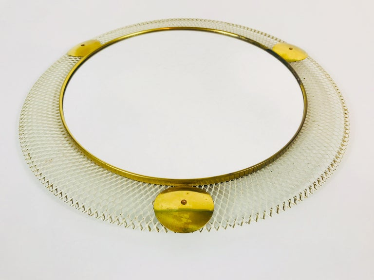 Mid-20th Century Midcentury Italian Round Metal and Brass Mirror, Italy, 1960s For Sale