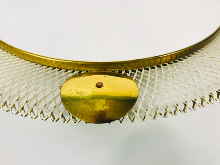 Midcentury Italian Round Metal and Brass Mirror, Italy, 1960s For Sale 1